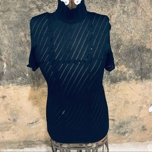 Marina Spadafora black net turtleneck dress